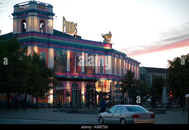 Illuminated 'Pallads' cinema at dusk, Copenhagen, Denmark - Stock Image