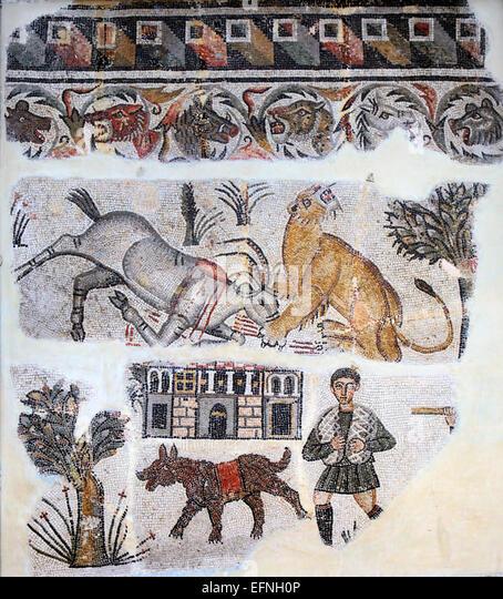 Roman mosaic, Constantine, Algeria - Stock Image