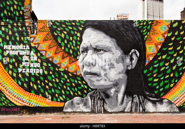 Street art, mural, Bogota, District of Santafe, Colombia - Stock Image