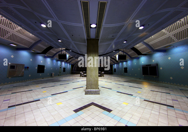 Modern Underground Transportation Corridor for A Subway Station in a Major Metropolis - Stock Image