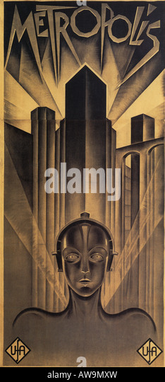 METROPOLIS poster for the 1926 UFA film classic  directed by Fritz Lang - Stock Image