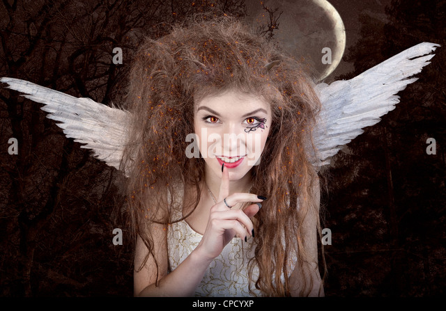 Beautiful angel with horns, fantasy tale - Stock Image