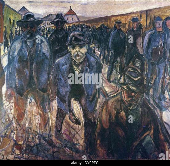 Edvard Munch Workers Returning Home - Stock-Bilder