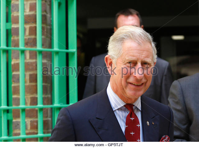Britain's Prince Charles walks during a visit to the Belmarsh prison in southeast London September 10, 2009. - Stock Image