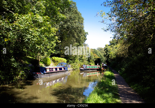Narrowboats on the Grand Union Canal, Warwickshire, England, UK, narrow, boat, boats, boating, narrowboat, narrowboats, - Stock Image