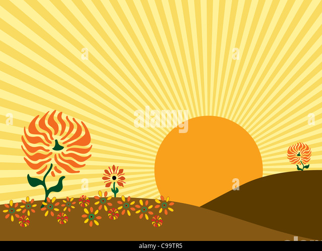 Illustration of a large sun rising behind the hills of an autumn meadow. - Stock-Bilder
