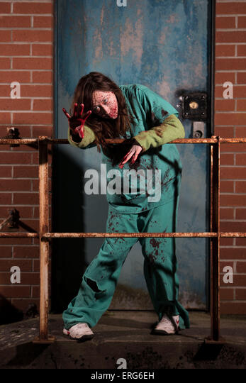 A female zombie. - Stock Image