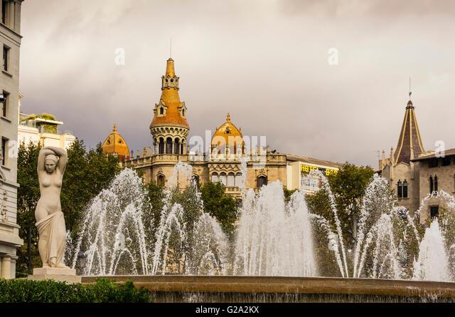 Teatre Tivoli  Theatre, Hotel Barcelona, Plaza de Catalunya Catalonia , Fountain, Square,  Barcelona, Catalonia, - Stock Image