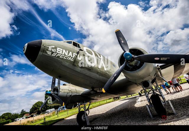 Douglas C-47 Dakota in the battery fire base of Merville (department of Seine-Maritime, region of Normandie, France). - Stock Image