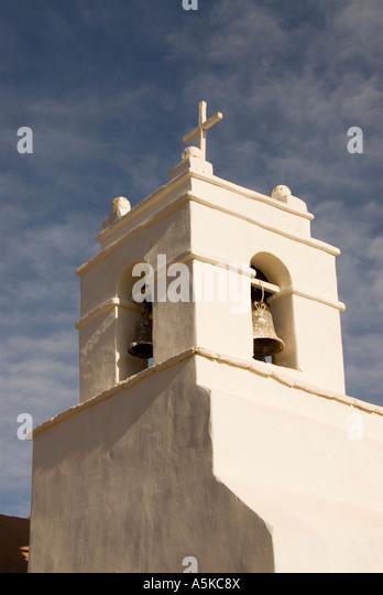 Chile San Pedro de atacama cathedral steeple - Stock Image