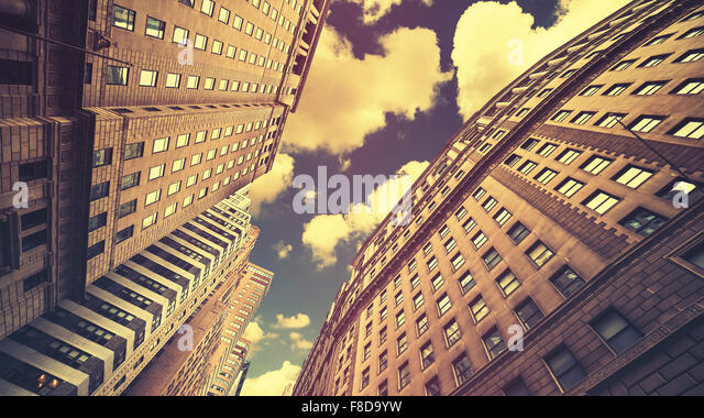 Retro toned skyscrapers in Manhattan NYC, USA. - Stock Image