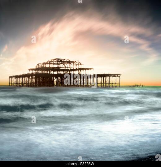 United Kingdom, Brighton, View of West Pier - Stock Image