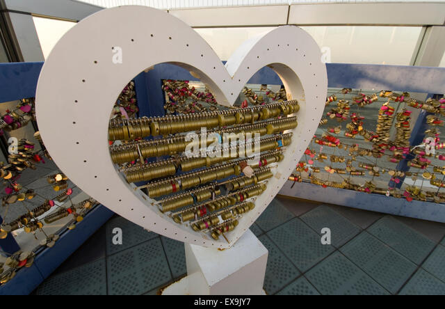 Love locks at the top of Umeda sky building, Osaka, Japan - Stock Image
