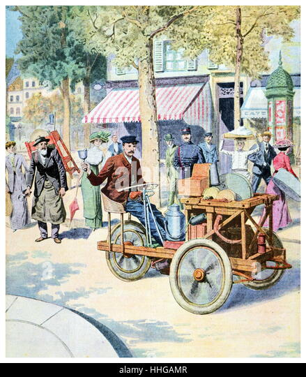Illustration depicting French street scene with early automobile. from 'Le Petit Journal' 1911 - Stock Image