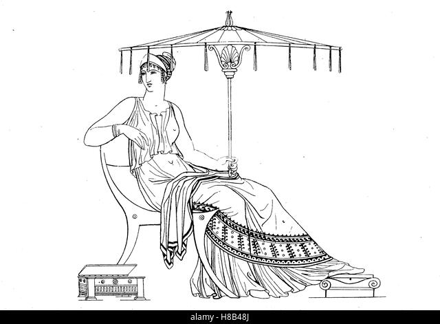 Greek lady with umbrella, Greek antiquity, after a vase painting, History of fashion, costume story - Stock Image