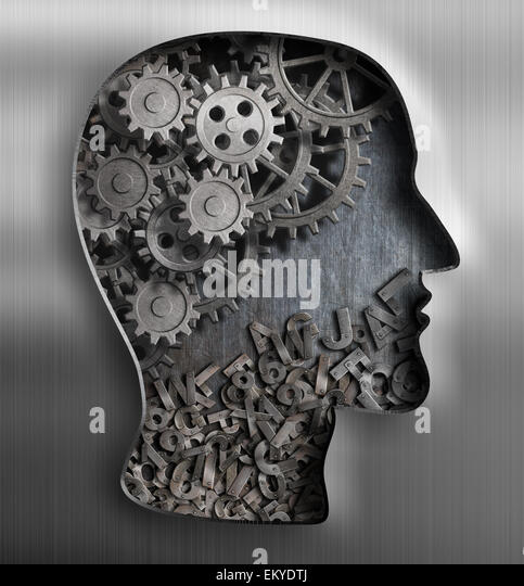 Metal brain. Thinking,  psychology, creativity, language concept. - Stock Image