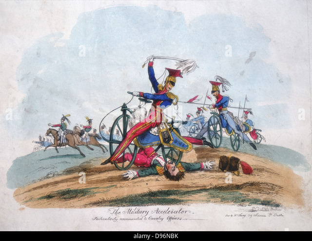 The Military Accelerator'. Suggested use by the Cavalryof the Hobby-Horse or Dandy-Horse introduced into the - Stock Image