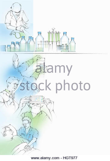 Montage of healthcare, research and medical test results - Stock-Bilder