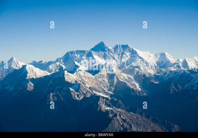 Aerial photograph of  the Himalaya mountain range with Mount Everest in the middle in Nepal - Stock-Bilder