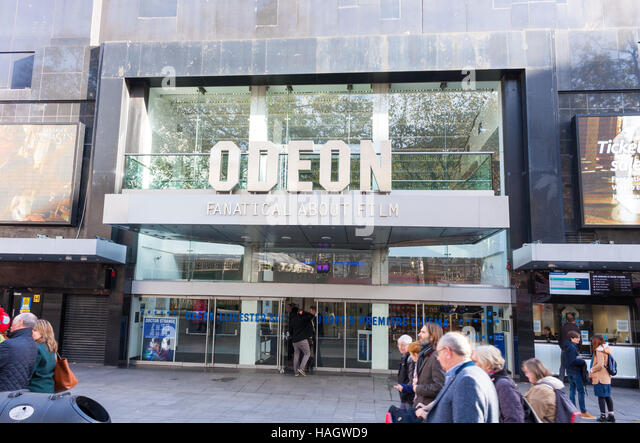 View of the entrance to the Odeon cinema in Leicester Square, London, UK - Stock Image