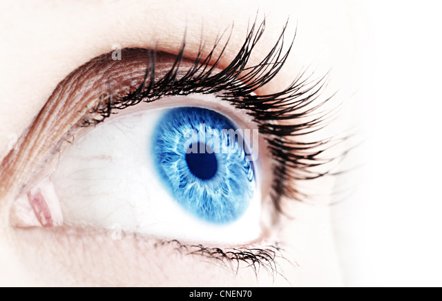 Beautiful abstract blue eye, extreme closeup - Stock Image