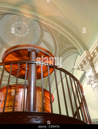 A mahogany pulpit with overhead sounding board in Gibside Chapel - Stock Image