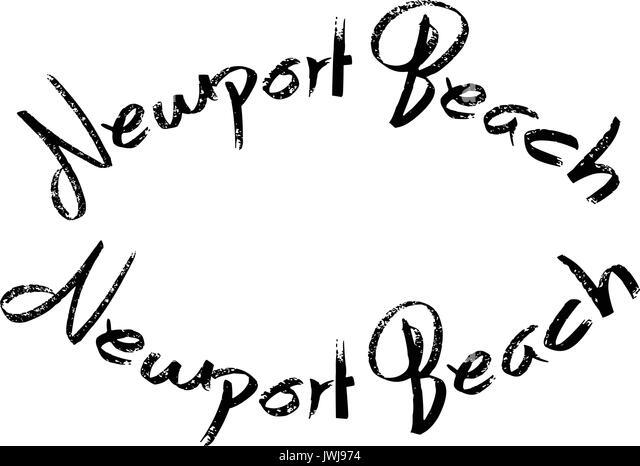 Newport Beach text sign illustration - Stock Image