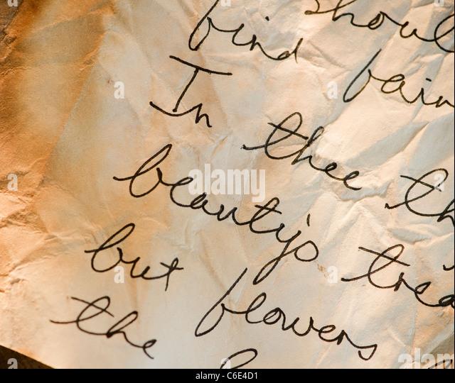 Close up of antique love letter on parchment - Stock-Bilder