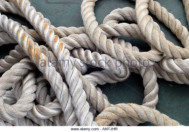 Pile of mooring Rope - Stock Image