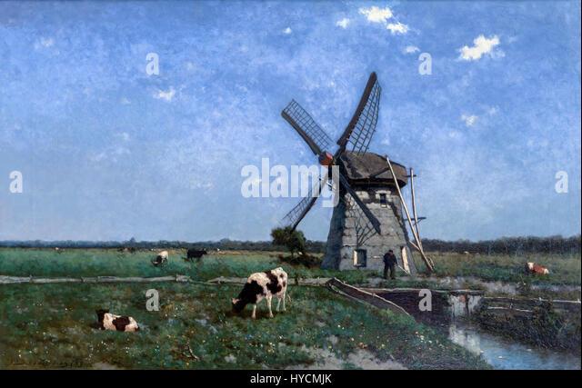 Landscape with Windmill near Schiedam, by Johannes Hendrik Weissenbruch, 1873, Boijmans van Beuningen Museum, Rotterdam, - Stock Image