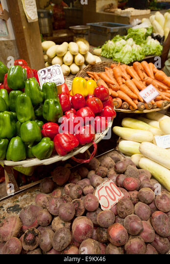 Mauritius - food for sale in the food market, Port Louis, Mauritius - Stock Image