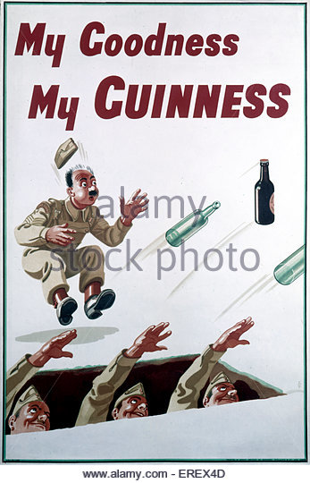 Guinness advertisement - World War 2. Showing soldiers throwing bottles from a trench, including a bottle of Guinness. - Stock Image
