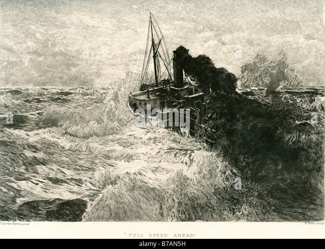 full speed ahead steam boat ship liner sailing ocean sea wave tug storm white smoke chimney deck - Stock Image