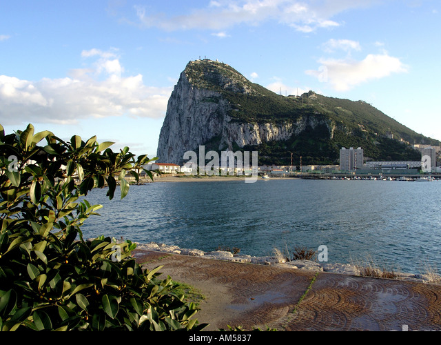 Solid as the Rock of Gibraltar The Rock seen from La Linea - Stock Image