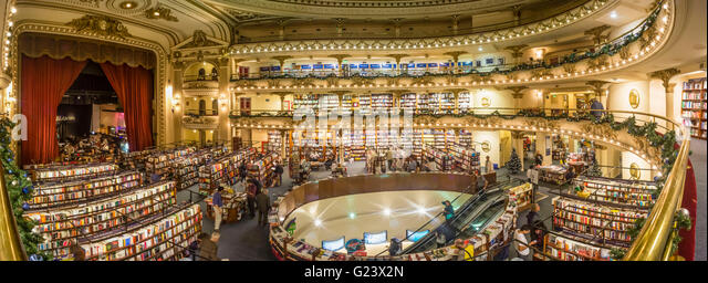 Interior of the Ateneo bookstore interior, former theater in Buenos Aires, Panorama, Argentina - Stock Image