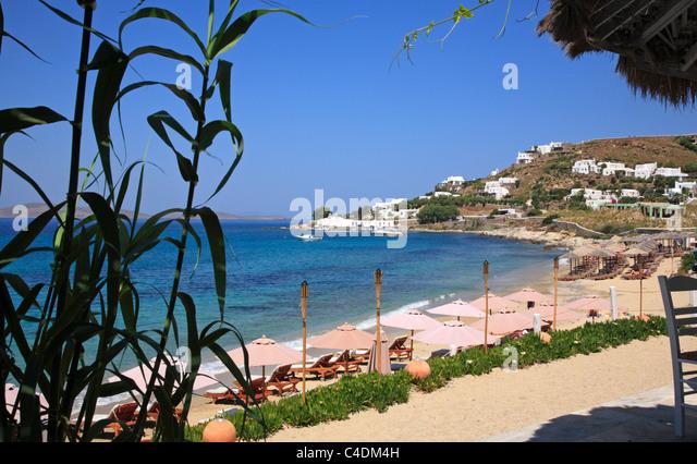 Best Island Beaches For Partying Mykonos St Barts: Agios Ioannis Beach Stock Photos & Agios Ioannis Beach
