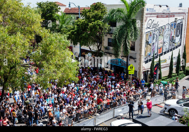 Florida FL Miami Little Havana Calle Ocho annual street festival event Hispanic crowd audience free concert - Stock Image