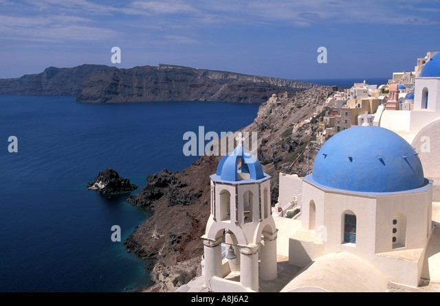 Greece Santorini Overview at Oia - Stock Image
