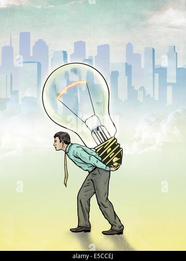 Illustrative image of businessman carrying light bulb representing innovation - Stock Image