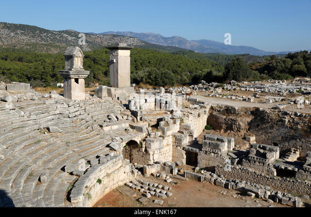Amphitheatre and Harpy monument, Xanthos, Kalkan, Lycia, Antalya Province, Southwest Turkey, Anatolia, Turkey - Stock-Bilder