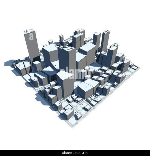 Cityscape Model 3D - Cartoon Syle - Stock Image