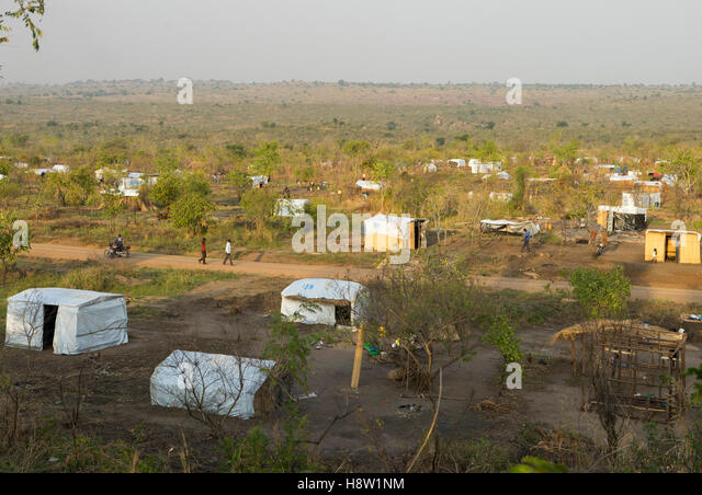 Agogo refugee camps in North Uganda, approx. 5 km from the town of Adjumani. Home to refugees from South Sudan. - Stock Image