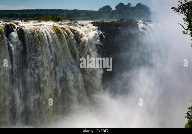 Mist in the Zambezi River Gorge at Victoria Falls  in Mosi-Oa-Tunya National Park, Zimbabwe - Stock Image
