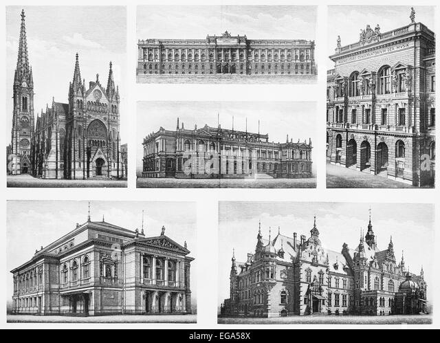 Famous vintage buildings from Leipzig city (Germany) - Stock Image