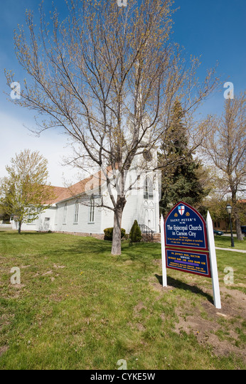 USA, Nevada. Historic St. Peter's Episcopal Church, Carson City, Nevada. - Stock Image