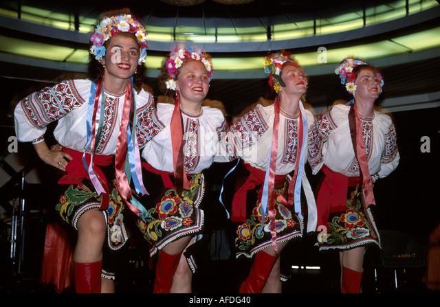 Gulf of Mexico Odessa America Gruziya cruise ship Ukrainian dancers performers ethnic costumes - Stock Image