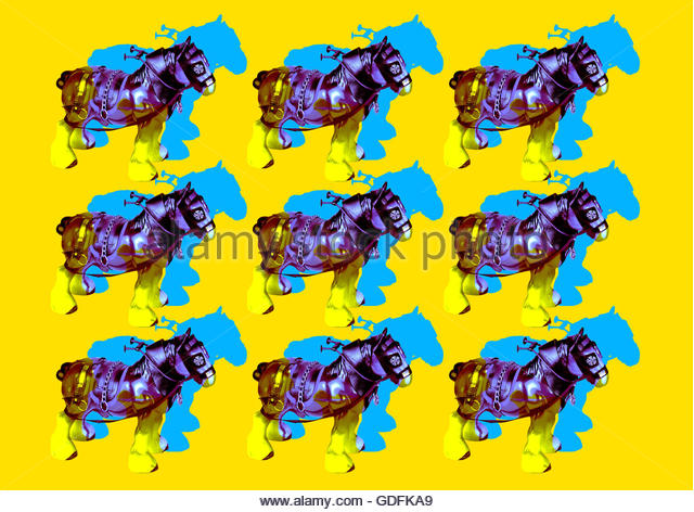Shirehorse china model retro horse farm carthorse illustration repeat - Stock Image