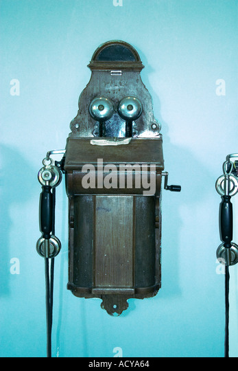 Iceland Skogar museum old phone hanging on the wall - Stock Image