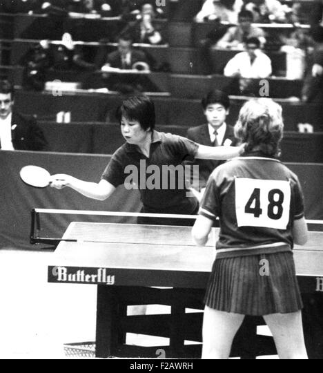 Lin Hui-Ching of Communist China at the 31st World Table Tennis Championships in Nagoya, Japan. April 7, 1971. The - Stock Image