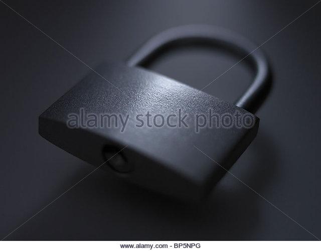 Close up of metal padlock - Stock Image